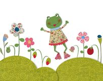 Little frog jumping on flowering meadow Royalty Free Stock Image