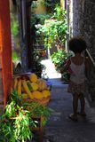 Little Fruit Shop with baby in a little village somewhere in the Five lands Cinque Terre - Italy. Travel destination. Little t Shop in a little village royalty free stock images