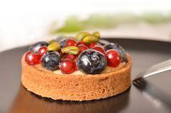 Little fruity cheesecake, delicious food photo. Food photo, fruity cheesecake with some peanut on black plate with fork stock images