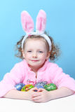 Little girl with bunny ears eggs Royalty Free Stock Image