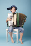 Little funny accordion player stock images