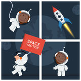 Little funny astronaut floated in space with rocket Stock Photo