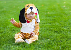 Little funny baby wearing puppy suit Stock Images