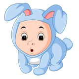 Little funny baby wearing rabbit suit. Illustration of Little funny baby wearing rabbit suit Stock Images