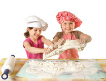 Little funny bakers. Little funny messy bakers isolated on white Royalty Free Stock Images