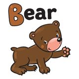 Little funny bear, for ABC. Alphabet B. Children  illustration of funny bear. Alphabet B Royalty Free Stock Image