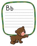 Little funny bear, for ABC. Alphabet B. Children vector illustration of funny bear. Alphabet B. Including frame with dotted lines and place for writing Royalty Free Stock Photography