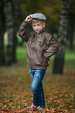 Little funny boy in autumn leaves portrait Royalty Free Stock Photography
