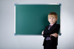 Little funny boy with blackboard Stock Photography