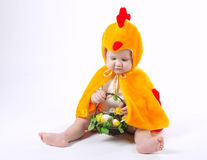 Little funny boy in chicken costume. On white Royalty Free Stock Images
