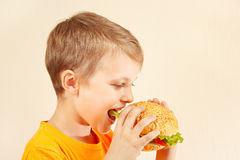 Little funny boy eating tasty sandwich Royalty Free Stock Photography