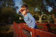Little boy looks into the distance Royalty Free Stock Photo