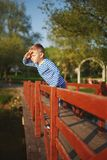 Little boy looks into the distance Stock Image