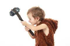 Little funny boy Neanderthal or Cro-Magnon.   shirtless. Little funny boy Neanderthal or Cro-Magnon. Ancient savage warrior caveman with ax isolated on white royalty free stock images