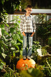 Little funny boy with pumpkins Royalty Free Stock Photography