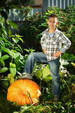 Little funny boy with pumpkins Royalty Free Stock Photos