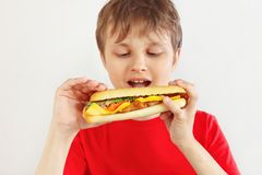 Little funny boy in a red shirt eating a tasty cheeseburger on white background stock images