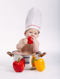 Little funny boy sitting in pan. Photo of little funny boy sitting in pan Royalty Free Stock Photography