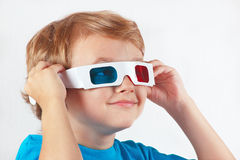 Little funny boy in stereo glasses Stock Photography