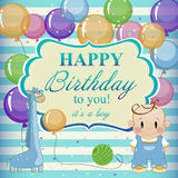 Little funny boy with toys and balloons. Royalty Free Stock Image