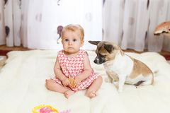 Little funny Caucasian girl the child sits at home on the floor on a light carpet with the best friend of the half-breed dog with. Spotty color and short hair Royalty Free Stock Images