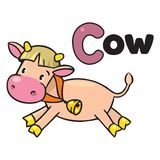 Little funny cow or calf, for ABC. Alphabet C Royalty Free Stock Photos