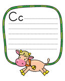 Little funny cow or calf, for ABC. Alphabet C. Children vector illustration of funny cow or calf. Alphabet C. Including frame with dotted lines and place for Royalty Free Stock Image