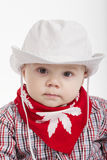 Little funny cowboy on white background Stock Photos
