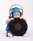 Little funny dj on white background Stock Photos