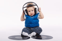 Little funny dj on white background Stock Photography