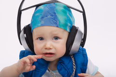 Little funny dj on white background Stock Images