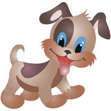 Little funny dog, family of dogs, cartoon vector illustration isolated on white background. Royalty Free Stock Photography