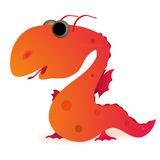 Little funny dragon. Little funny red dragon on white background stock illustration