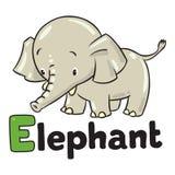 Little funny elephant or jumbo. Alphabet E Stock Images