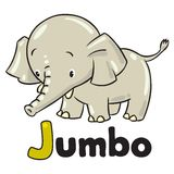 Little funny elephant or jumbo. Alphabet J Royalty Free Stock Photos