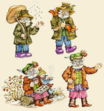 Little funny forest old man characters. Autumn collection. Hand painted, isolated on buff background Royalty Free Stock Photos