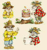 Little funny forest old man characters collection. Hand painted, isolated on buff background Stock Photography