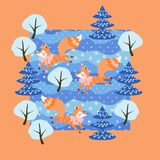 Little funny foxes frolic in mixed winter forest among the snow-covered trees. Cute card design in vector stock illustration