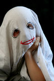 Little, funny ghost. Little girl in a halloween costume Royalty Free Stock Images