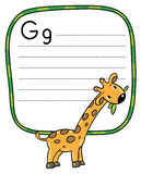 Little funny giraffe, for ABC. Alphabet G. Children vector illustration of little funny giraffe eating green leafs. Alphabet G. Including frame with dotted lines Stock Image