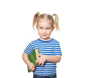 Little Funny girl  with books. Stock Images