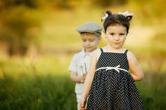 Little funny girl and boy Stock Photography
