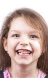Little funny girl close up, isolated. On white background stock photos