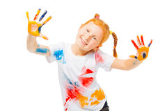 Little funny girl dances Stock Images
