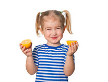 Little Funny girl keeps lemons Stock Photography