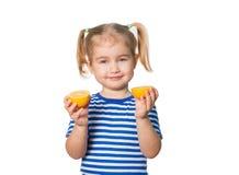 Little Funny girl keeps lemons Stock Images