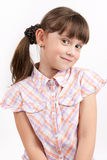 Little funny girl on light background Royalty Free Stock Photos