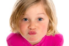 Little funny girl making a air-kiss Stock Photo
