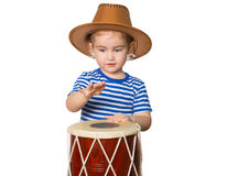Little Funny girl  play drum. Royalty Free Stock Photography