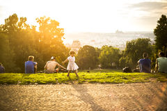 Little funny girl playing on green grass, Prague, august 2015 Stock Photography